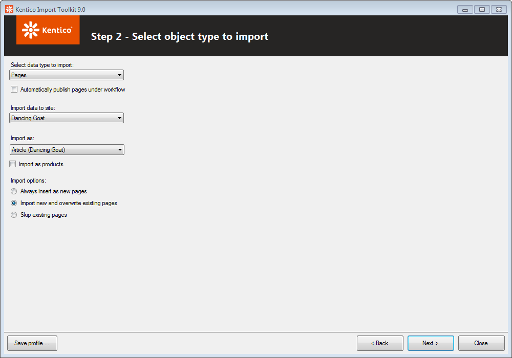 Configure the settings for importing language versions of documents