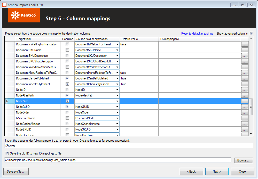Adjust the column mappings for importing language versions of pages