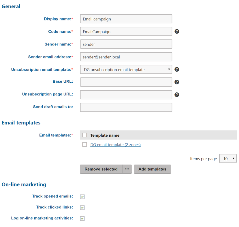 Creating email campaigns kentico 11 documentation for Kentico email template