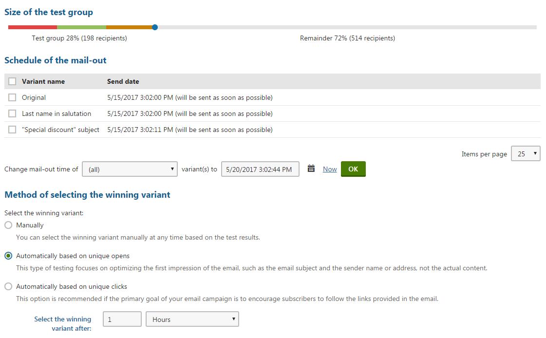 A/B testing marketing emails | Kentico 11 Documentation