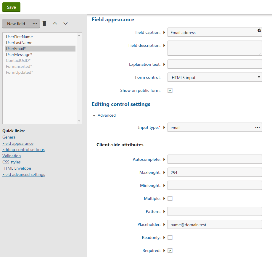 Configuring a field using the HTML 5 input form control