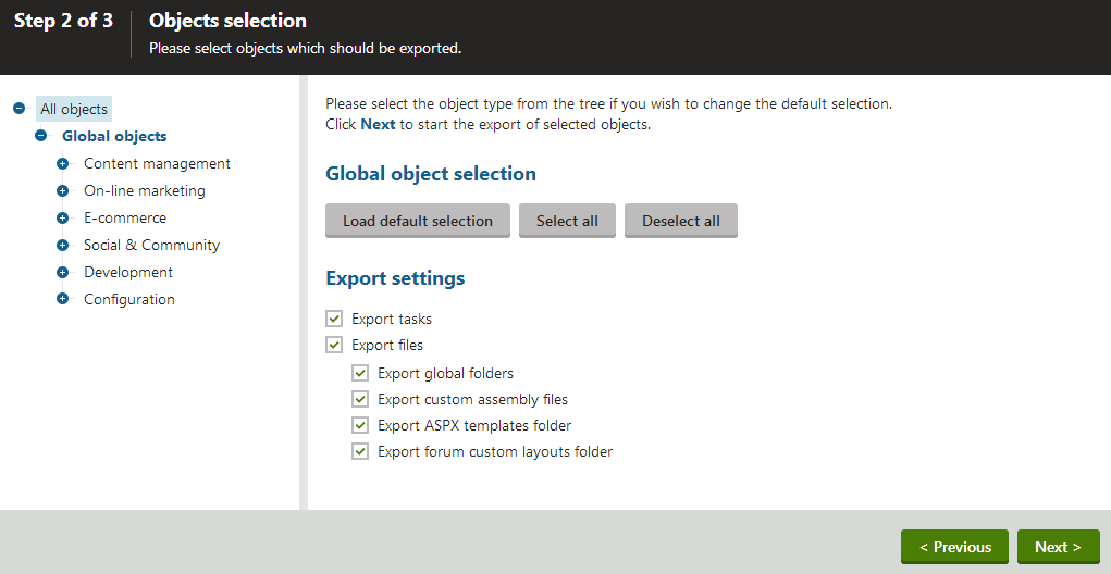Selecting objects for export