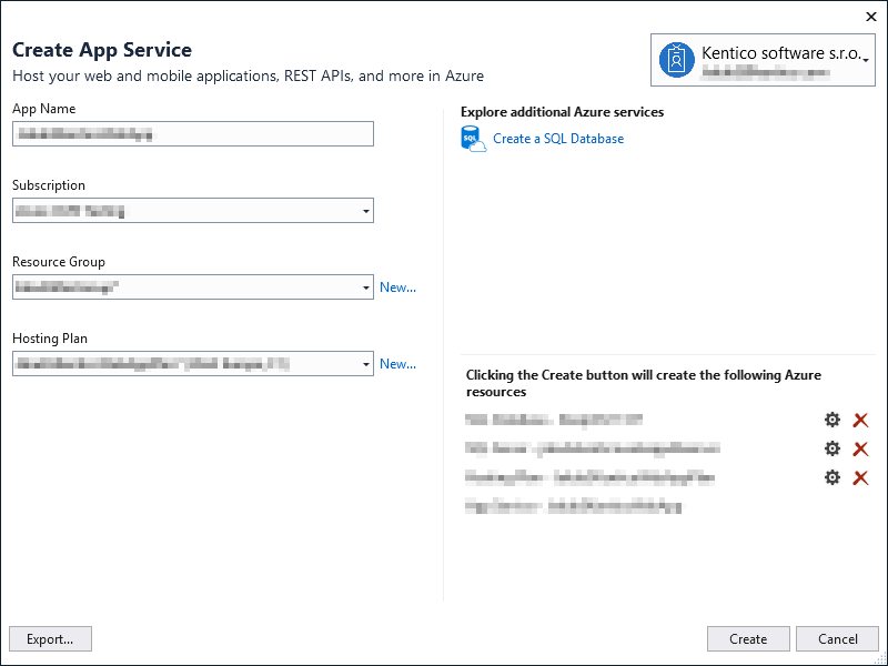 Creating an App Service in Visual Studio 2017