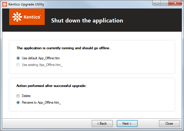 Configuring how the hotfix or upgrade shuts down the application