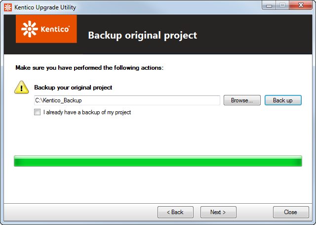 Backing up the project