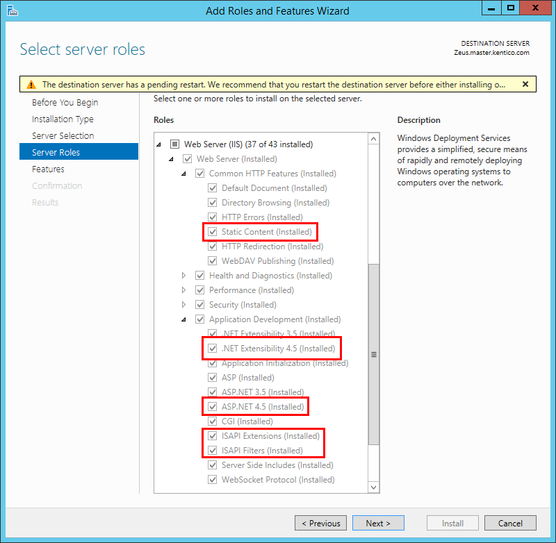 Enabling IIS features on Windows Server 2012