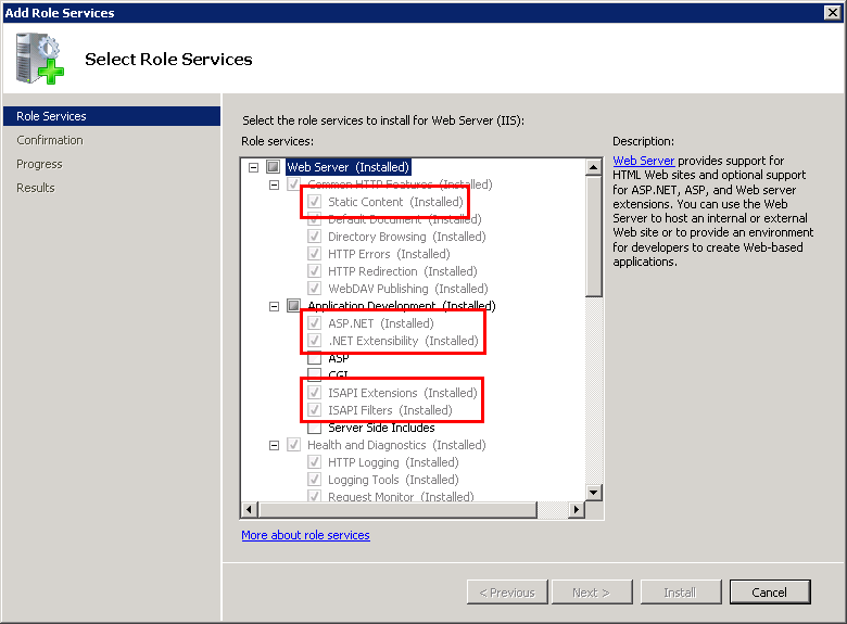 Enabling IIS features on Windows Server 2008