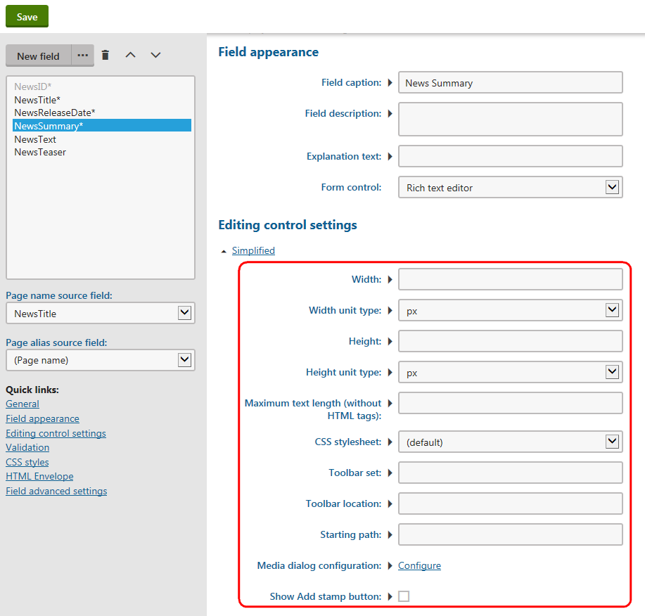 Setting the form control parameter values for a form field