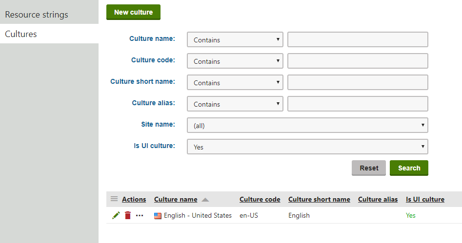 Viewing the available UI cultures