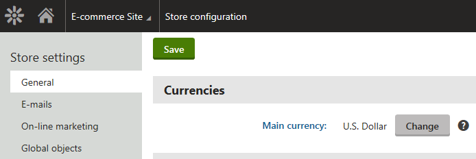 Configuring the main currency