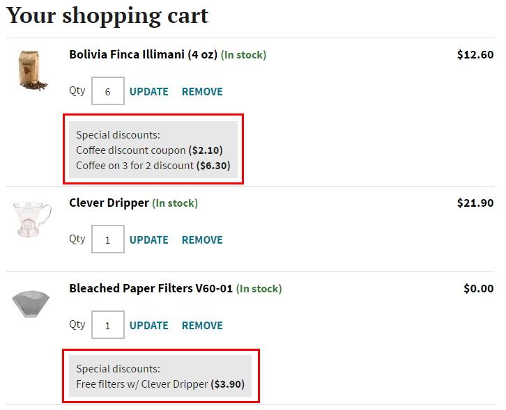 Shopping cart item discounts displayed on a checkout page