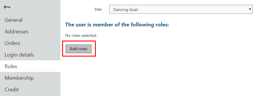 Clicking Add roles