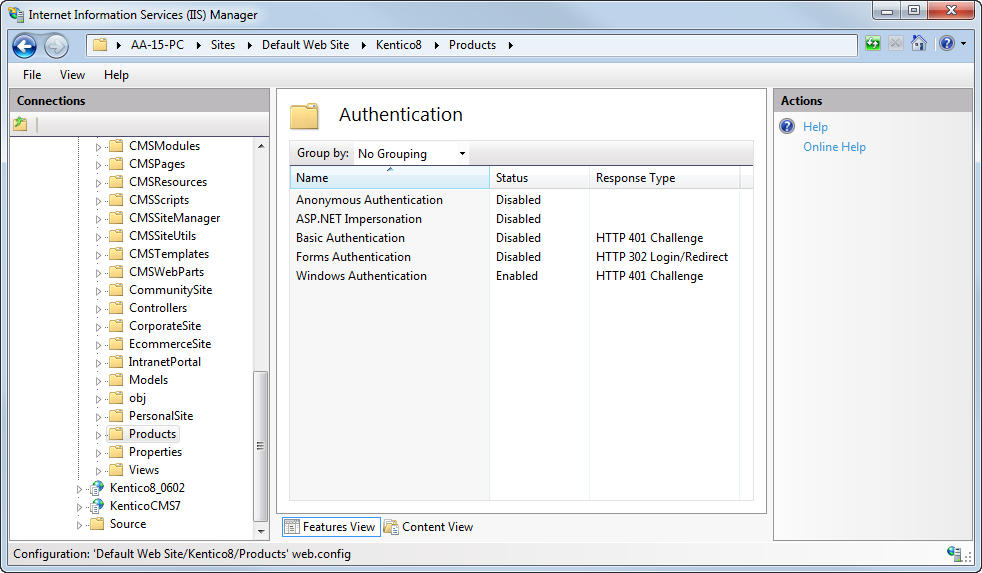 IIS authentication settings for the given folder