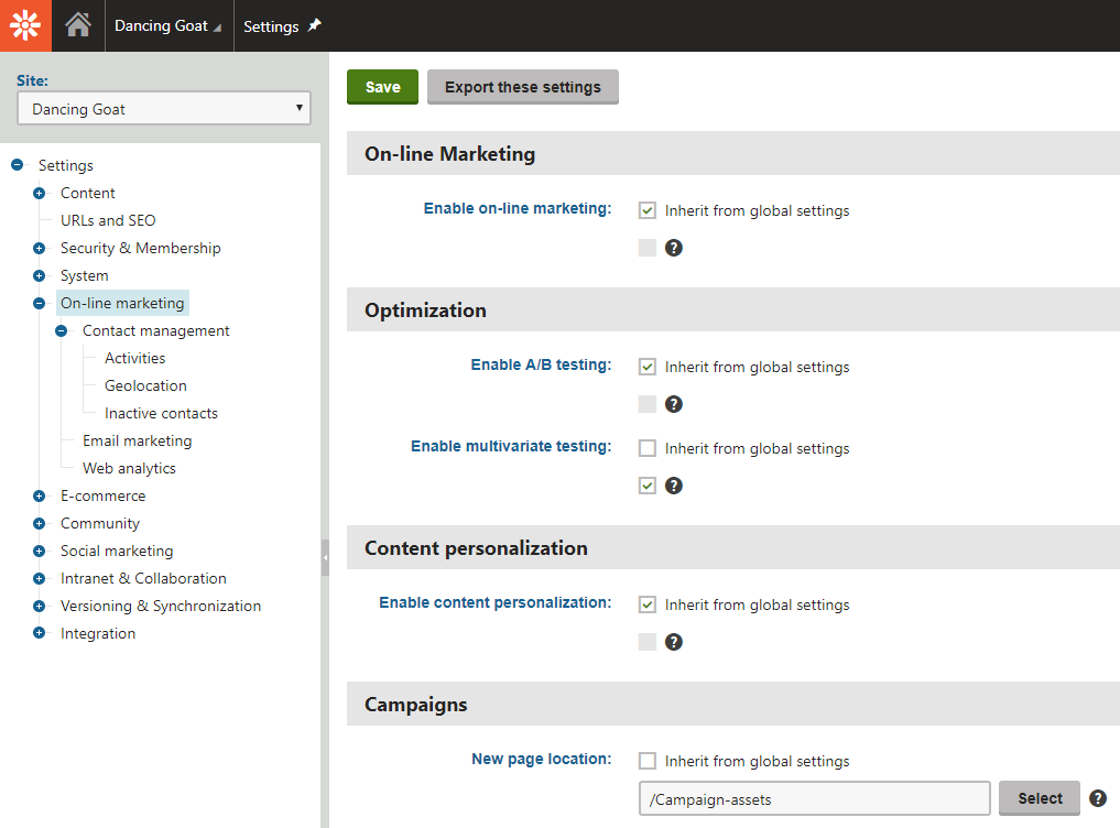 On-line marketing settings