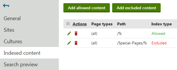 Specifying allowed or excluded content for a page index