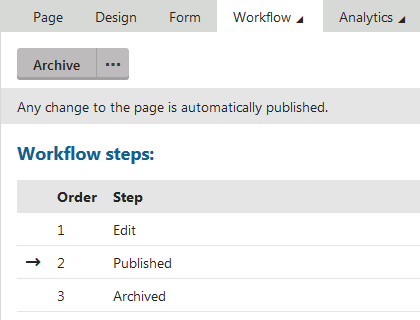 Page configured to use versioning without workflow