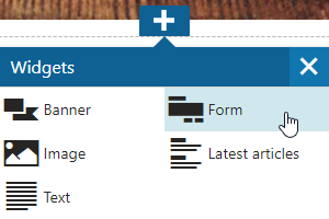 Adding the Form widget to a page