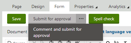 Commenting and submitting a pagefor approval