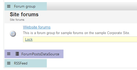 Forum posts data source and RSS feed web parts on the Design tab
