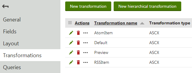 Editing the Computer document type - viewing the list of available transformations