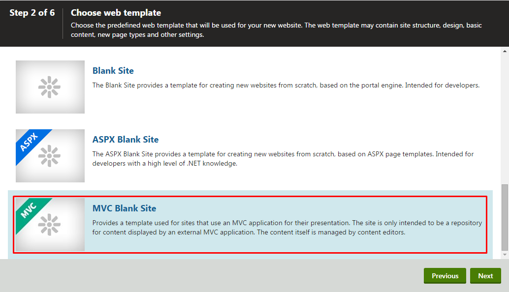 MVC Blank Site template selection