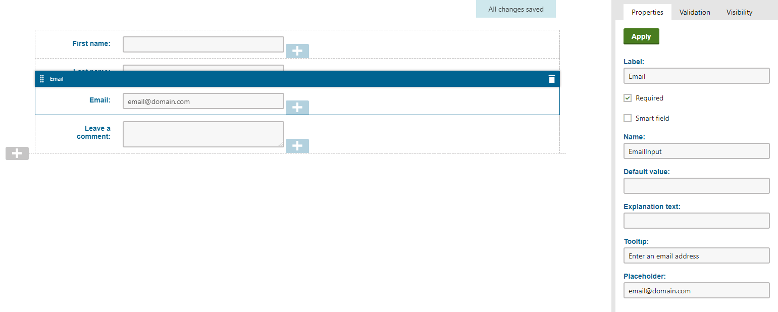 Kentico form builder interface