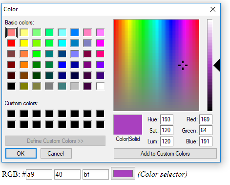 Selecting a color using the color picker of the form component