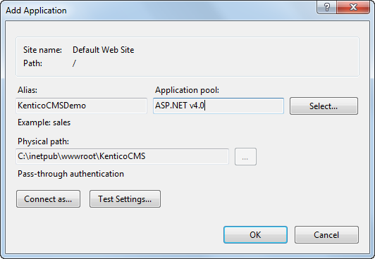 Creating virtual directories and application pools in IIS