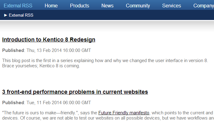 Usage example - External RSS feed | Kentico 8 Documentation