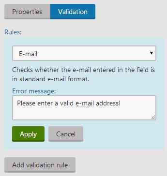 Creating a validation rule