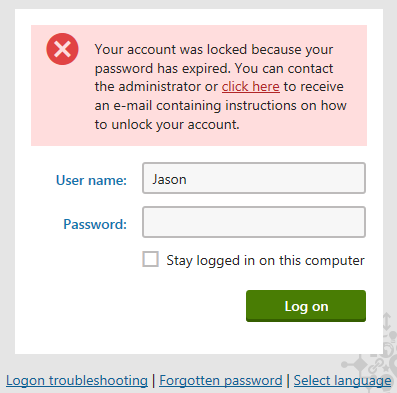 Locked account after password expiration