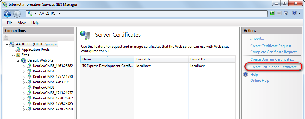 In the Actions pane, click Create Self-Signed Certificate