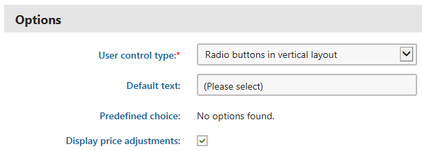 Editing properties available for the Attribute and Products type option categories