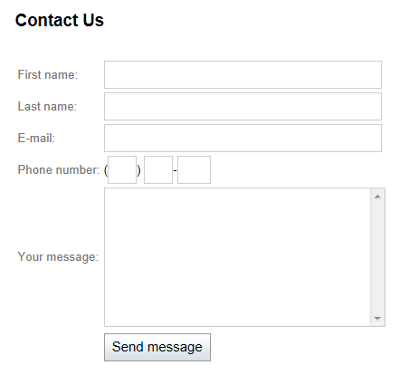 A Contact Us form displayed on a page