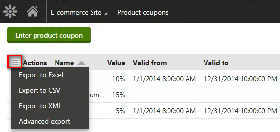 Exporting the coupon codes