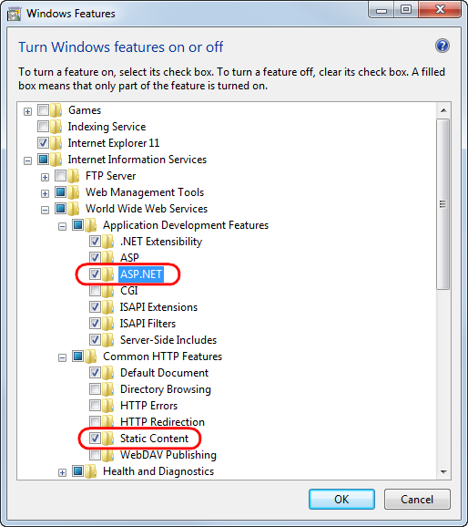 Enabling IIS features on Windows 7