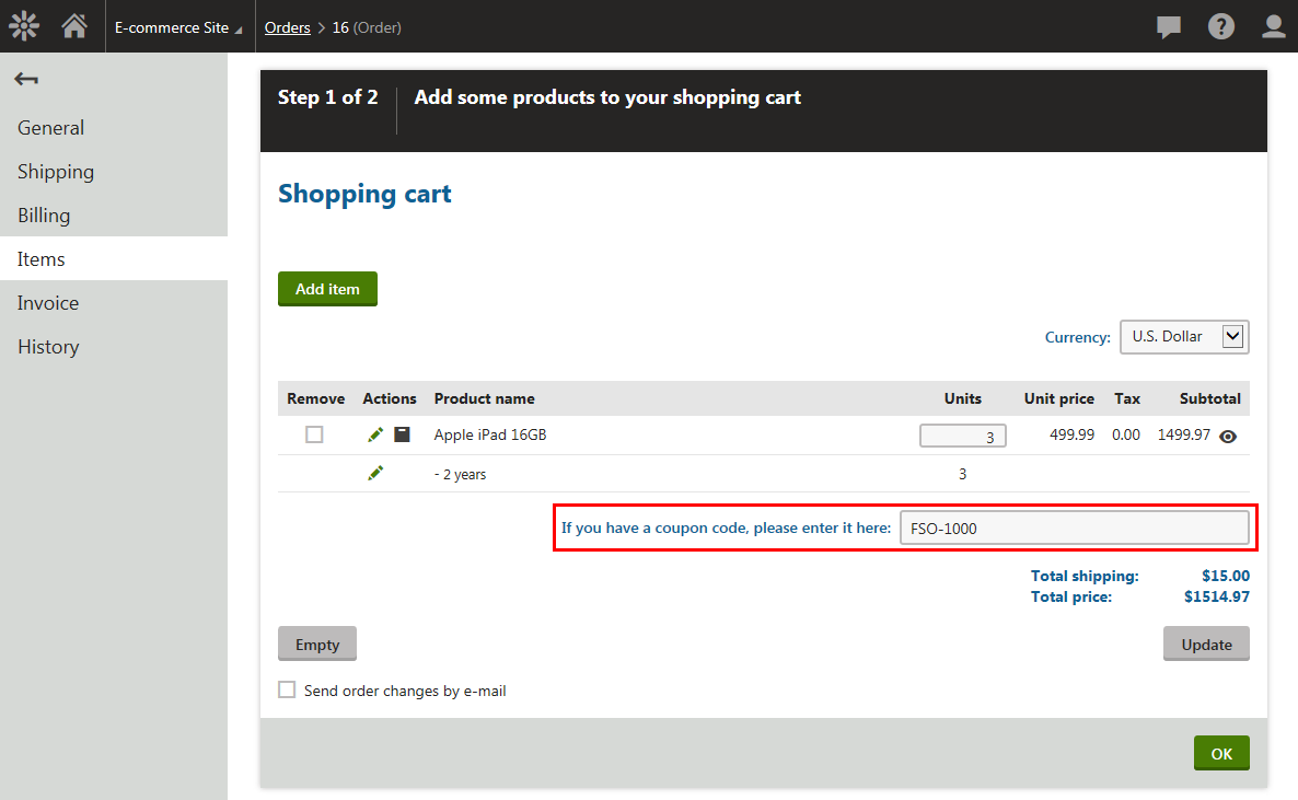 Example - Applying a coupon code to receive free shipping   Kentico
