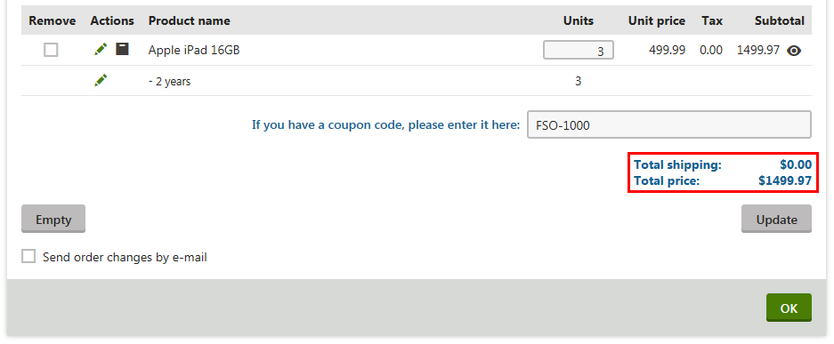Example - Applying a coupon code to receive free shipping | Kentico