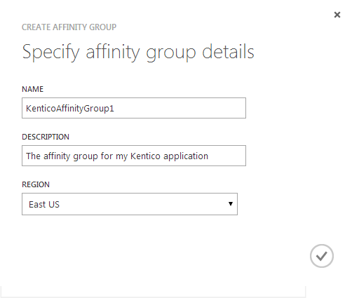 Creating an affinity group