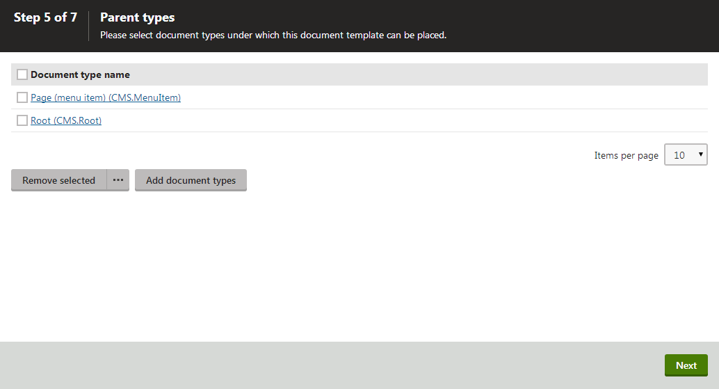 Adding parent document types