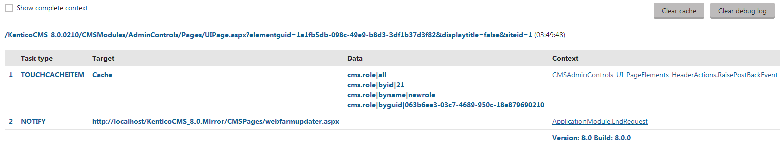 Synchronization task and notification logged for a web request that adds a new role object