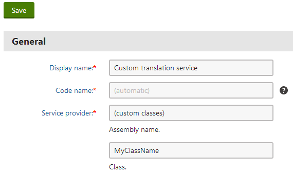 Assigning a custom App_Code class to a new translation service