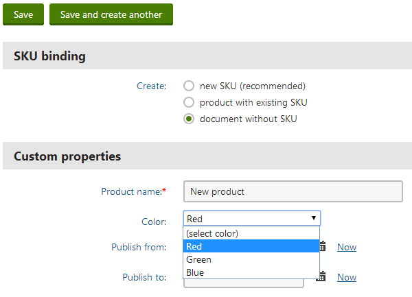 Selecting a value through the custom color selector form control