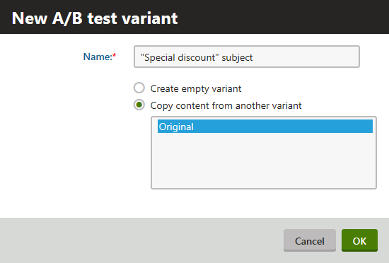 Creating a new newsletter AB test variant
