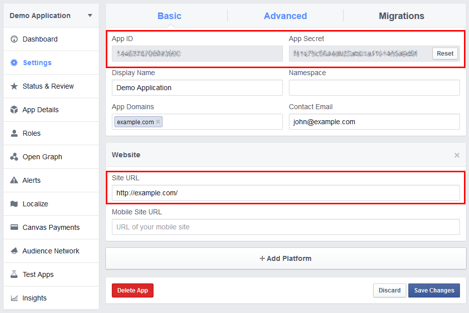 Setting up your Facebook app