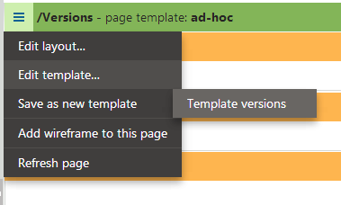 Acessing the versions of the page template on the Design tab