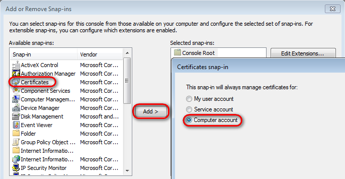 Using x509 authentication kentico 8 documentation select certificates and click add choose computer account and click next yelopaper Choice Image