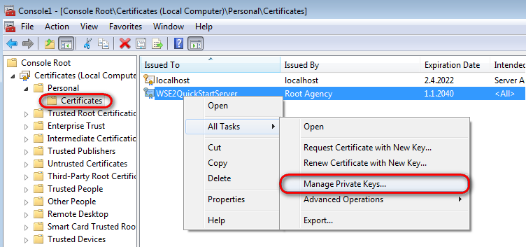 Using x509 authentication kentico 8 documentation right click the imported wse2quickstartserver certificate and choose all tasks manage private keys yelopaper Gallery