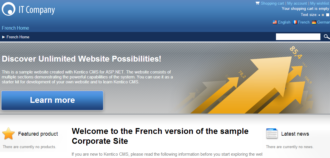 Viewing the French home page on the live site