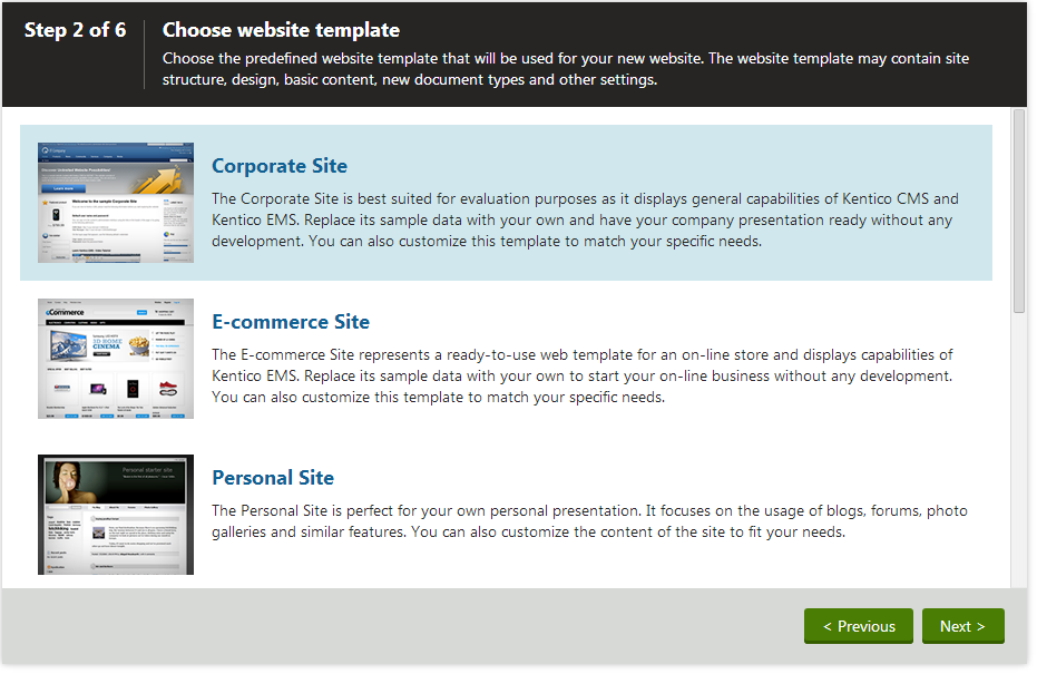 Creating New Sites From Templates Kentico Documentation - Create web page template